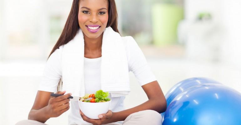 woman eating smile