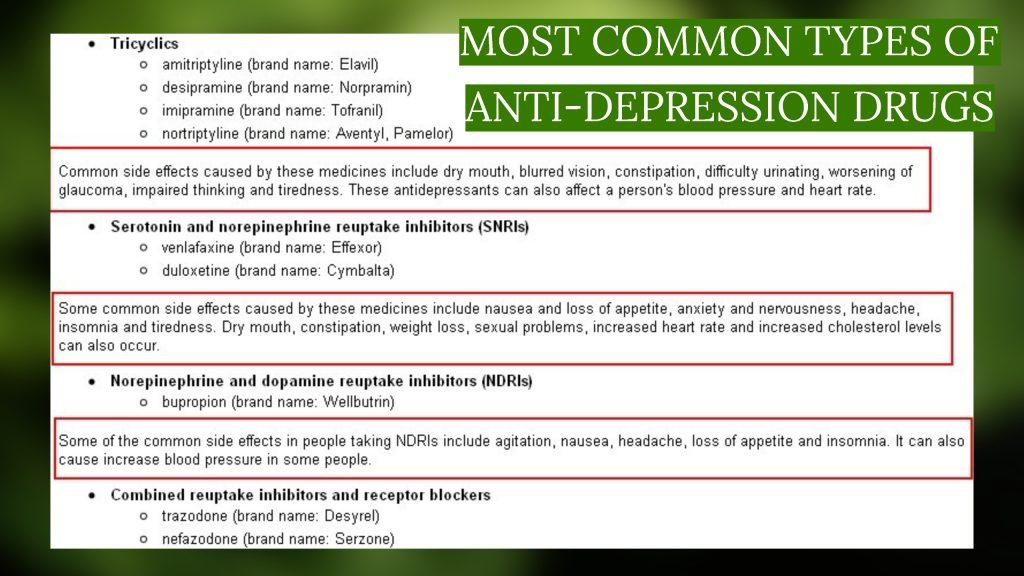 common types of antidepressant drugs